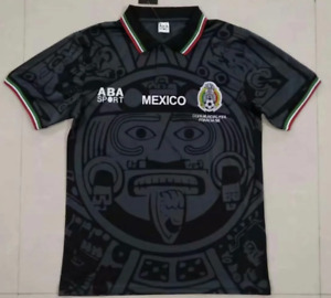 1998 Mexico Black Away Retro Vintage Soccer Jersey Free Shipping