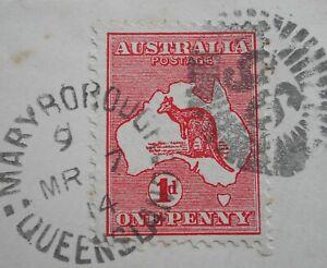 Australia 1914 1d Kangaroo with Barred 96 postmark