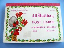 VINTAGE CHRISTMAS 40 HOLIDAY POST CARDS 4 DESIGNS BOOKLET VERY CUTE