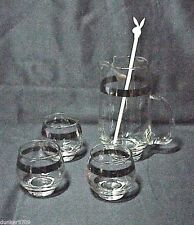 COCKTAIL PITCHER & STIRRER W/3 GLASS SET SILVER RIMS ROLY POLY RETRO MAD MEN ERA