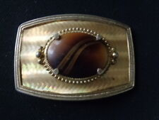 VINTAGE 1970s **MULTI-COLOR AGATE STONE** SOLID BRASS BELT BUCKLE