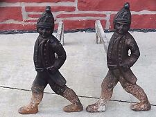 soldier figural American Antique Hessian statue Fireplace Andirons Foundry Marks