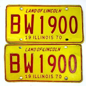 Illinois 1970 Vintage License Plate Pair Good Number 1900 Classic Man Cave Gift