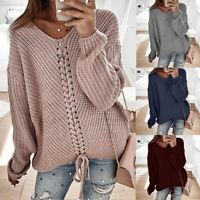Women Long Puff Sleeve Knitted Casual Jumper Knitwear Lace Up Sweaters Cardigans