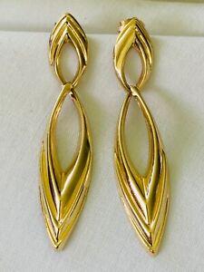 ESTATE 14K Yellow Gold Dangle Marquise Hoop EARRINGS