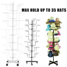 White&Black 7 Layers Adjustable Hat Display Stand Rotating Rack W/ 4 Wheels Us