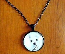 collier noir 51 cm avec pendentif chien chihuahua