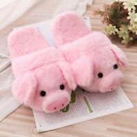 Cute Pink Pig Plush Flip Flop Flats Indoor Warm Winter Casual Shoes Girls Gifts