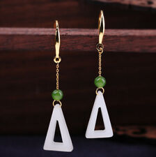 I03 Earring Sterling Silver 925 Gold Plated Triangle from White Jade
