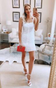 alexis white peasant dress pleated eyelet floral sleeveless tank M new tag