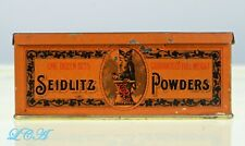 Old OWL DRUG Co SEIDLITZ POWDER tin COLORFULLY ORNATE w/pic Owl and MOON