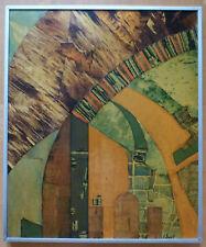 FRANCINE LESPRIT COMPOSITION ABSTRAITE COLLAGE VERNI SUR PANNEAU SIGNE DATE 1977