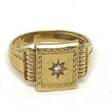 Vintage 1961 9ct gold and diamond Gentleman's signet ring