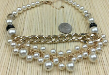 Calisa Designs Faux PearlCluster Baubly Goldtone ThicK Chain Chunky Choker