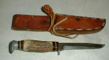 VINTAGE Solingen York Cutlery #634 Stag Handled Fixed Blade Hunting Bowie Knife