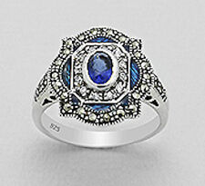 16mm Wide Sterling Silver Sapphire Blue CZ Antique Style Ring Marcasite Size 6.5