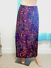 Fashion Bug Size M Long Burgundy Red Purple Floral Skirt Side Zipper Polyester