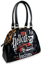 Hotrod Hellcat KUSTOM Muscle Car Skull LEO Fake Fur Bowler Bag Tasche Rockabilly