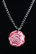 "Shell Rose Red 1.25"" Pendant Necklace Silver Rhodium Chain Flower 18"" Rose Bud"