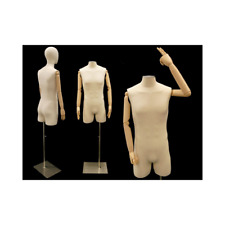 Adult Male 3/4 Mannequin Torso Shirt Form with Flexible Arms and Removable Head