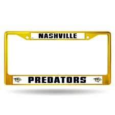 Nashville Predators NHL Licensed Yellow Painted Chrome Metal License Plate Frame