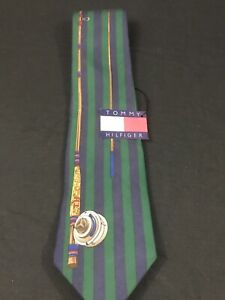 Vintage 90s Tommy Hilfiger Neck Tie Green Navy Blue 100% Silk Fly Fishing Rod