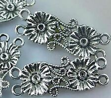 4 Silver Pewter Flower Dual Connector Link 38mm