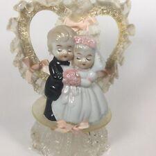 Vintage Ceramic Bride & Groom Wedding Cake Topper Lace Satin Ribbon Midcentury