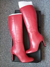 Dune St Lucia Red Knee High Heeled Leather Boots New in Box
