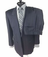 Pal Zileri Mens Navy Blue Pinstripe 2 Pc Suit Size 43R Double Breasted