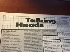 1979 Vintage 6 Page Print Article/Interview On The Talking Heads David Byrne Eno