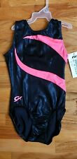 New GK Elite Gymnastics Leotard Child Large Shiny Black Pink NWT