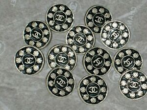 CHANEL 12 METAL CC LOGO CAMELLIA FLOWER SILVER BLACK BUTTONS 10 MM  LOT 12