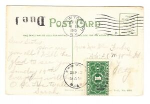 JQ1 PARCEL POST POSTAGE DUE ON POSTCARD PPC 1915 VERY NICELY TIED SCARCE CARD