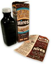 Vintage HIRES ROOT BEER Extract Bottle w/ Box & Recipes It's High Time For Hires