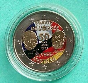 """France 2013  2 Euro Commémorative  """" Traité de l'Elysée """"  Couleur"""