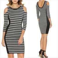 Missguided Black White Striped Cold Shoulder Bodycon Dress Size 6 8 10 ❤
