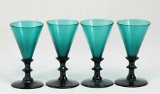 4x antique 18th C. White Wine Glass ca.1780 Holland, blue green / petrol crystal
