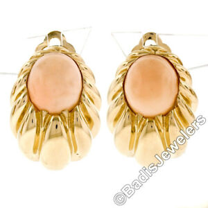 Large 14K Yellow Gold Oval Angel Skin Coral Fluted Grooved Ribbed Omega Earrings