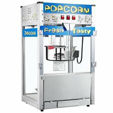 Blue Popcorn Popper Machine 12oz Kettle Theater Party Snack Maker Commercial Kit