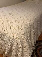 New listing Beautiful Vintage Crocheted Popcorn Stitch Bedspread W/ 3� Fringe