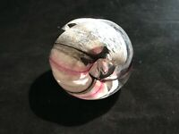 Large Caithness Glass Paperweight - White, Pink & Black Ribbons