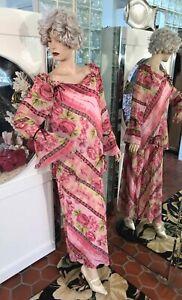 1920s DRESS FLAPPER DROP WAIST Modern Millie GATSBY STEAMPUNKS FLORAL Pink XL