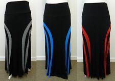 Long Black Stretch Maxi Skirt Pull on Jersey Elastic Waist RGB Stripe UK 10 - 24