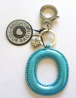 Brighton Let's Hang Out Initially Yours O Handbag Fob turquoise -heart pattern