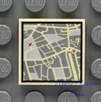 NEW Lego CITY STREET MAP 2x2 Printed FLAT TILE - Tan Pirate Minifig Treasure Map