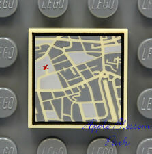NEW Lego CITY STREET MAP 2x2 Printed FLAT TILE - Tan Pirate Minifig Treasure Map
