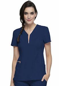 """Statement Scrubs #876 Zip V-Neck Designer Fashion Scrub Top in """"Navy"""" Size L"""