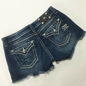 Miss Me Jean Shorts Flap Pockets Rhinestone JE5014H32 Cutoffs Women's Size 28