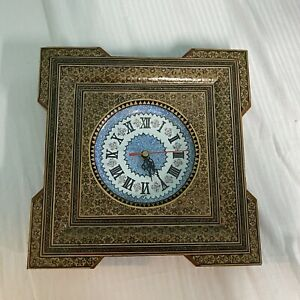 "Persian Handmade 10"" Wooden Marquetry Khatam Mina Kari Wall Clock Turkish Inlay"